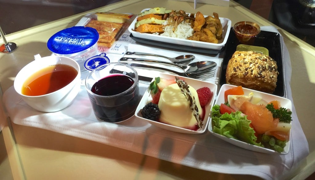 A Singapore Airlines premium economy meal. Airlines are wary of allocating too much room to premium economy, but many are upgrading other parts of the experience.