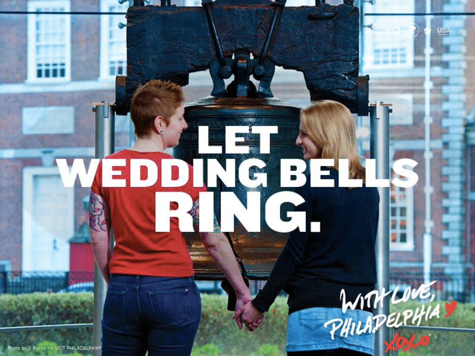 Two women vowing their love in marriage in front of the Liberty Bell in Philadelphia, the city of brotherly ... and sisterly love.