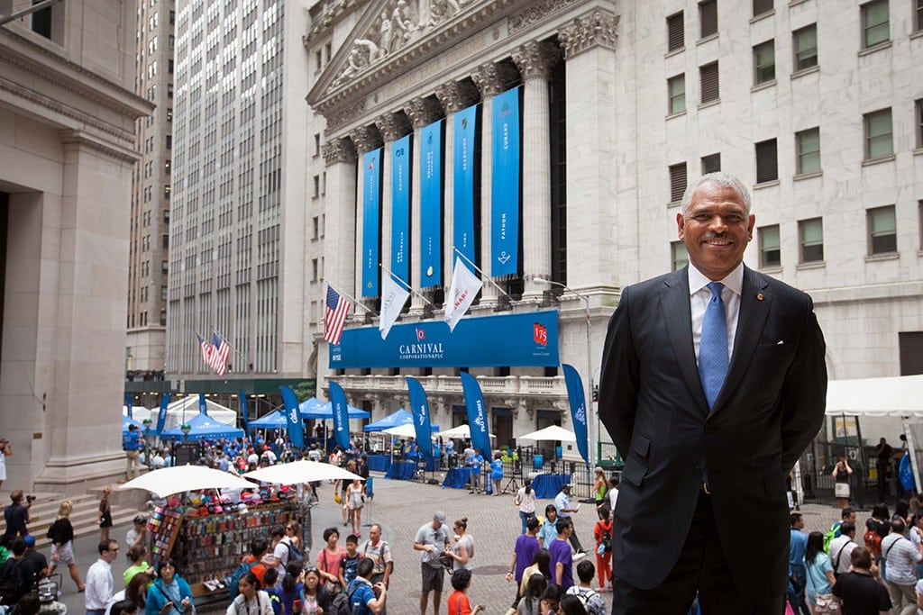 Carnival CEO Arnold Donald outside the New York Stock Exchange