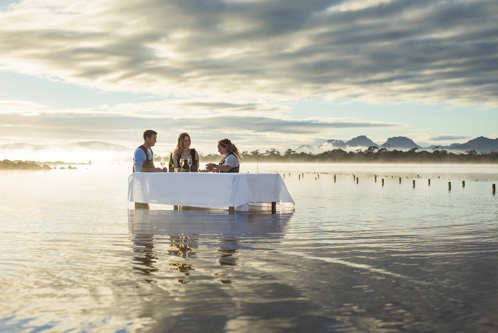 Oyster eating at the Saffire Freycinet lodge in Tasmania.