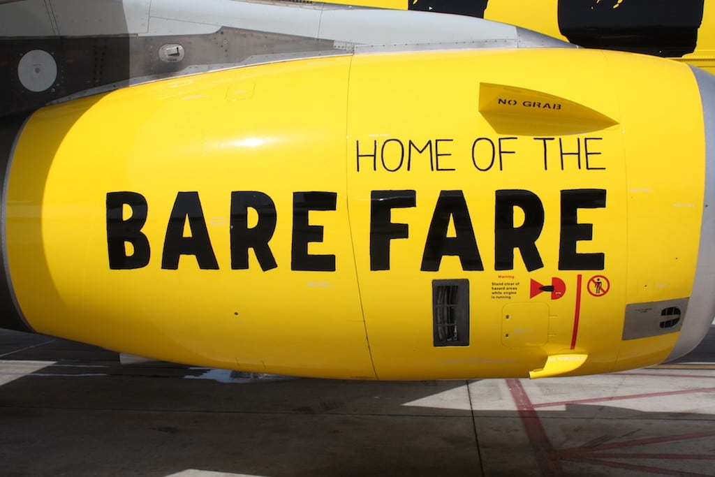 Spirit Airlines' stock dipped after it lowered its guidance for the beginning of 2017. The engine of a Spirit Airlines aircraft is pictured here.