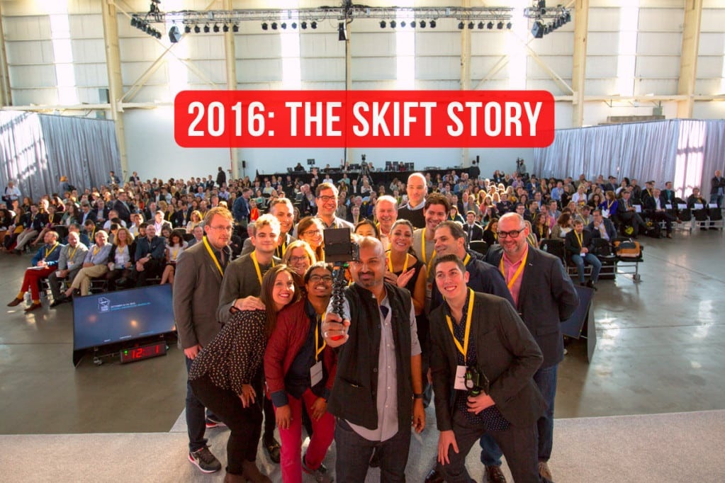 The Skift team on stage, at Skift Global Forum 2015.