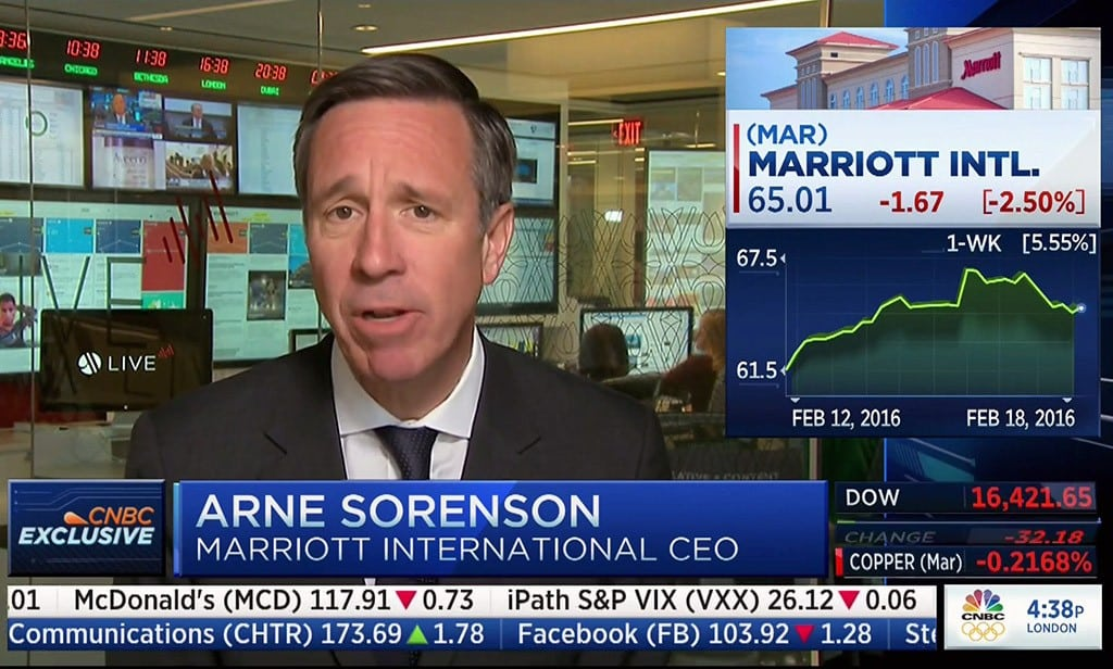 Marriott International CEO Arne Sorenson appearing on CNBC following the company's Q3 earnings report.