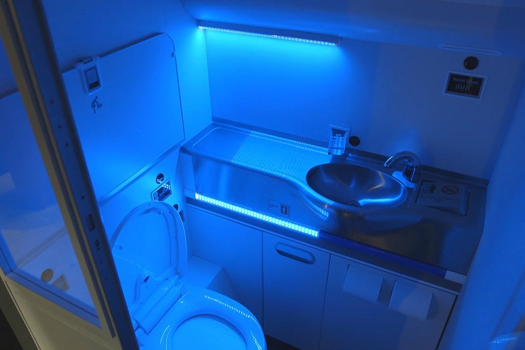 An image of Boeing's new partially cleaning  airplane toilet.