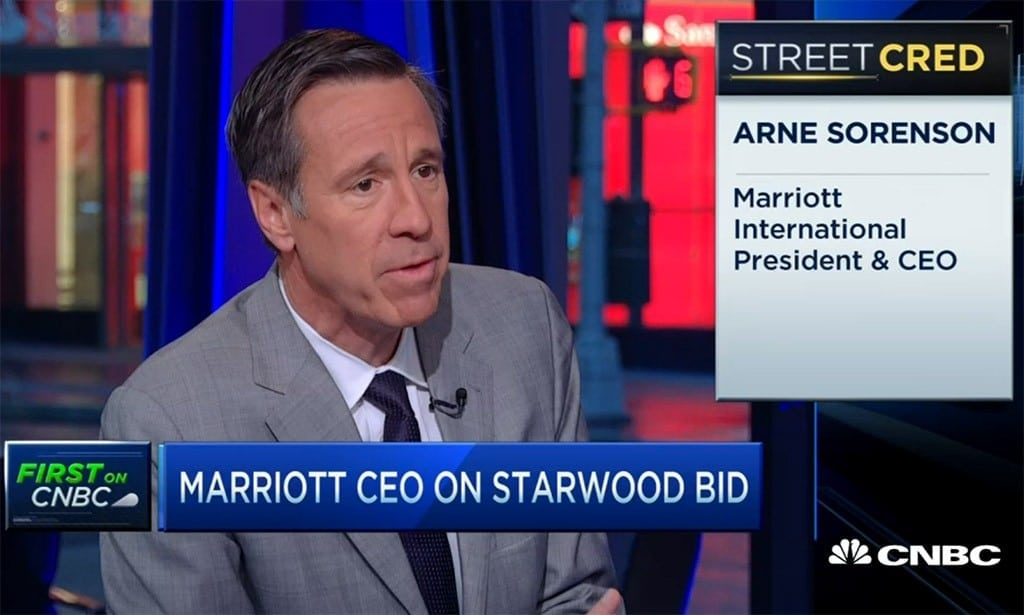 Marriott CEO Arne Sorenson appearing on CNBC to discuss his company's purchase of Starwood Hotels and Resorts.