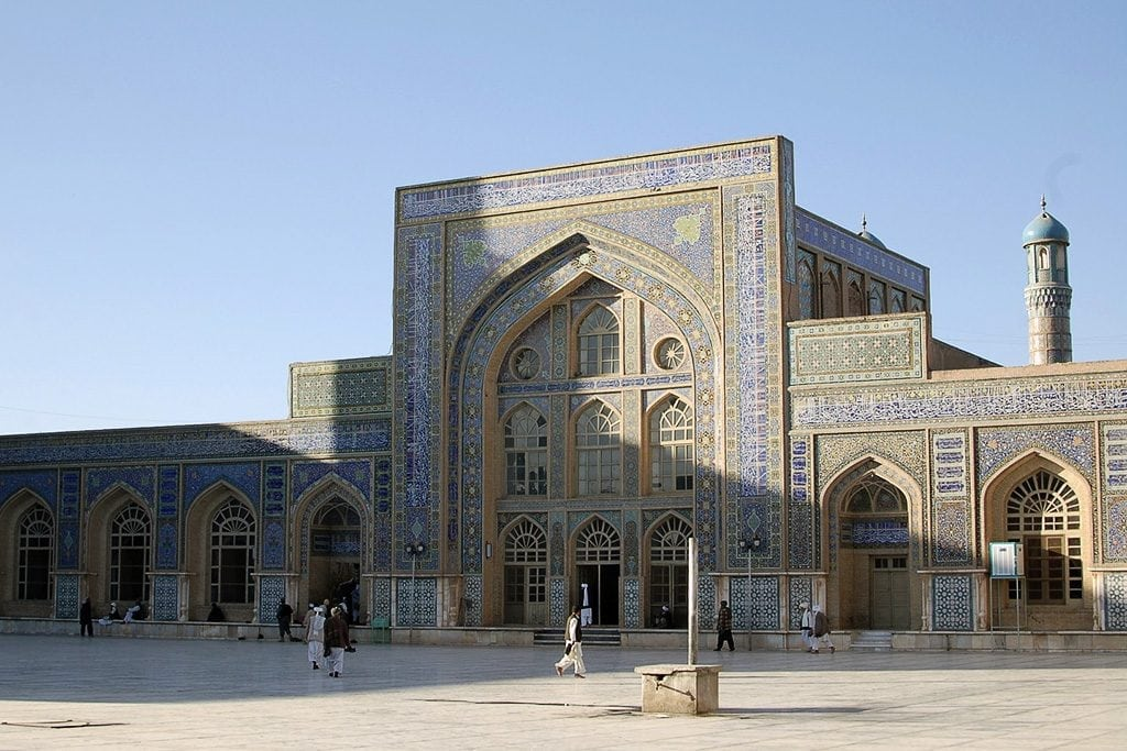 A mosque in Herat, Afghanistan. Travelers nearby were caught in the middle of a battle between Taliban and security forces.