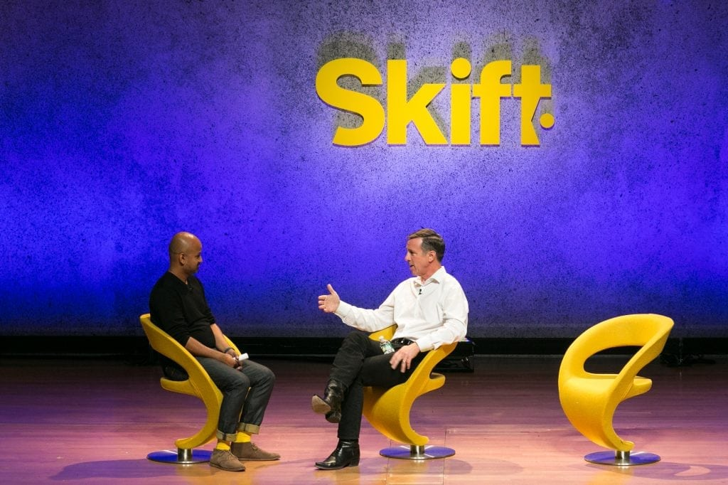 Arne Sorenson, CEO of Marriott International, spoke with Skift Founder and CEO Rafat Ali at the Skift Global Forum in New York City in September. Sorenson penned a moving open letter to U.S. President-Elect Donald Trump, urging him to 'disprove his critics' and 'make America even greater.'