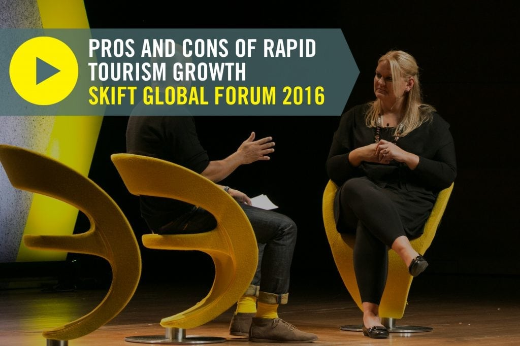 Iceland has experienced a major tourism boom, officially making tourism the country's biggest industry, but tourism growth has happened without several negative factors affecting the country. Visit Iceland director Inga Hlín Pálsdóttir onstage at Skift Global Forum 2016.