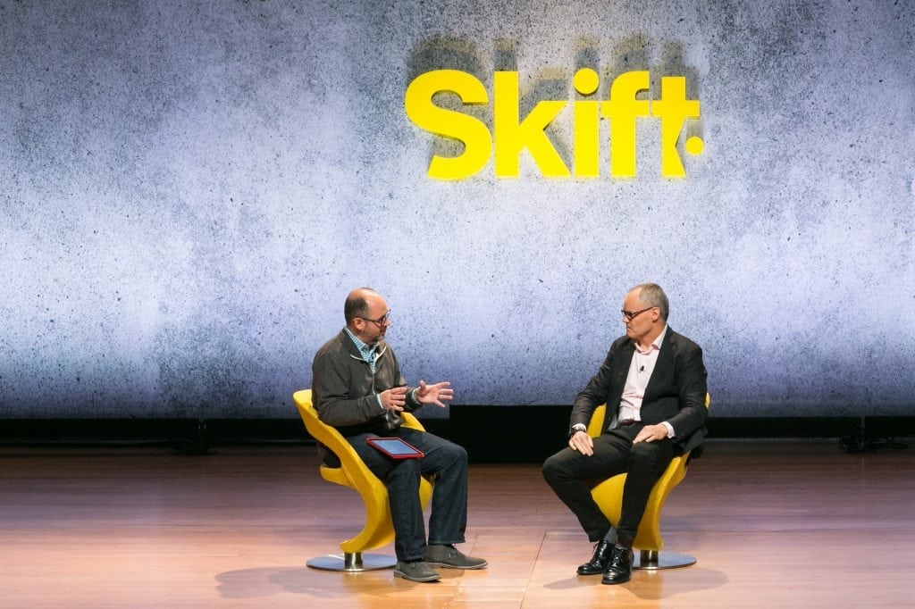 Frits van Paasschen, former CEO of Starwood Hotels and Resorts (R), speaking with Skift Editor-in-Chief Jason Clampet at Skift Global Forum in New York on Sept. 27, 2016. Van Paasschen has recently joined the advisory board of citizenM hotels.