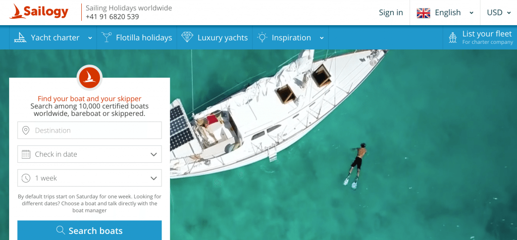 Sailogy connects consumers to yacht charter companies and private boat owners.