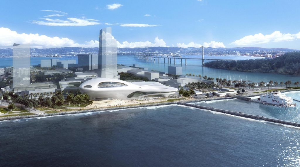 George Lucas will decide in January whether Los Angeles or San Francisco will get his new art museum. Pictured is a conceptual rendering of the proposed Lucas Museum of Narrative Art on Treasure Island in San Francisco.