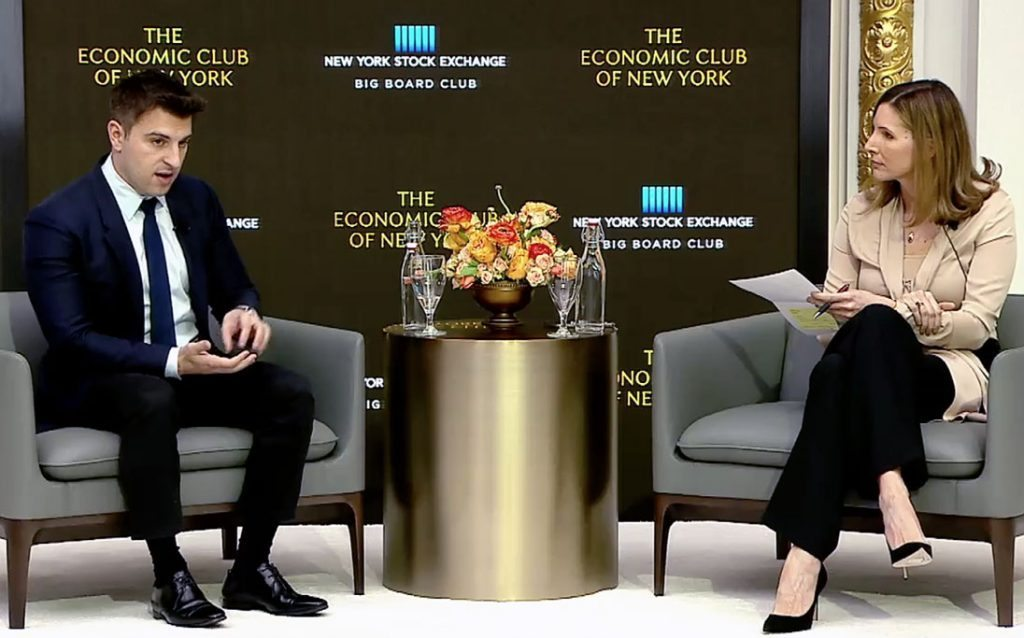 Airbnb CEO Brian Chesky (L) during an interview with Fortune editor Leigh Gallagher at the Economic Club of New York.