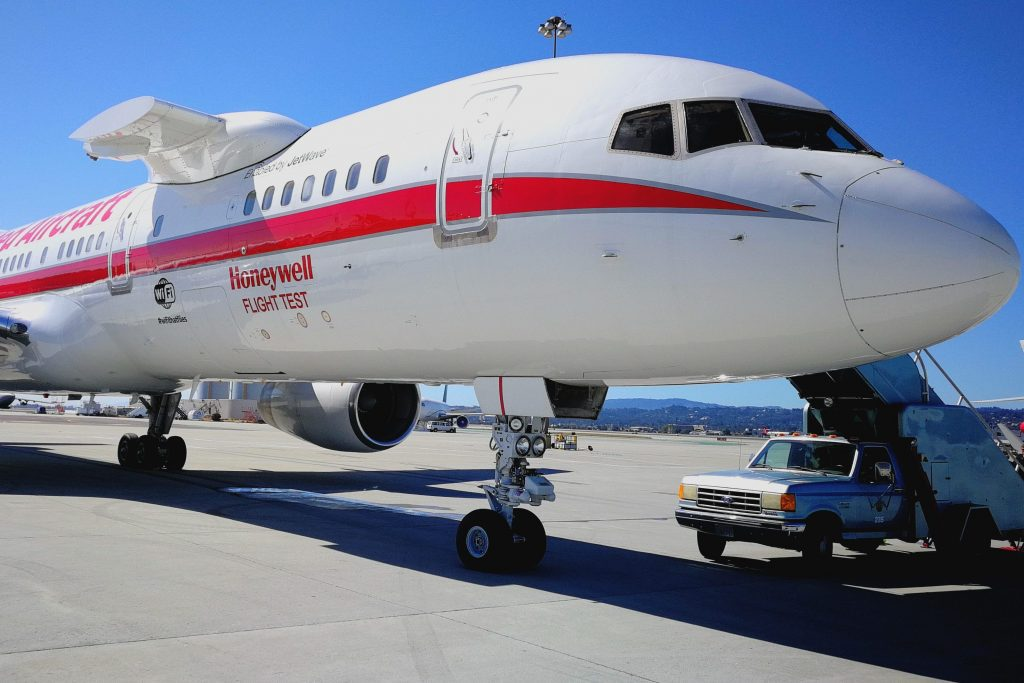 The Honeywell-connected aircraft that it used for demos, shown at San Francisco International Airport.