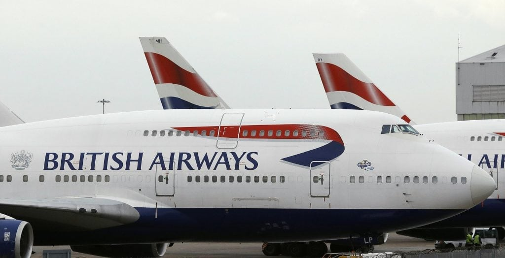 British Airways flights were expected to resume May 28, 2017 after a systems outage a day earlier.  In this January 10, 2017 photo, British Airways planes are parked at Heathrow Airport during a 48-hour cabin crew strike in London.