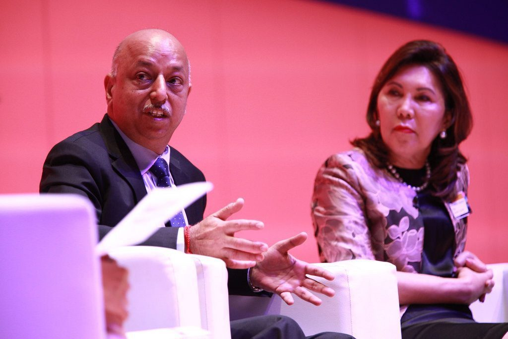 Southeast Asia wants to emulate the European Union's model for visa-free travel and Open Skies. Pictured are (left) Arun Mishra, regional director of the International Civil Aviation Organization and Wanda Teo, Secretary of Tourism for the Philippines, speaking at the World Travel & Tourism Council Global Summit in Bangkok on April 27, 2017.