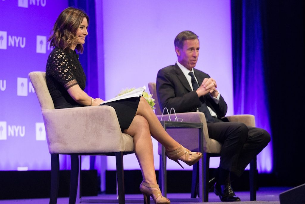 Marriott CEO Arne Sorenson (right) was interviewed on stage by ABC News correspondent Rebecca Jarvis at the NYU Hospitality Industry Investment Conference on June 5.