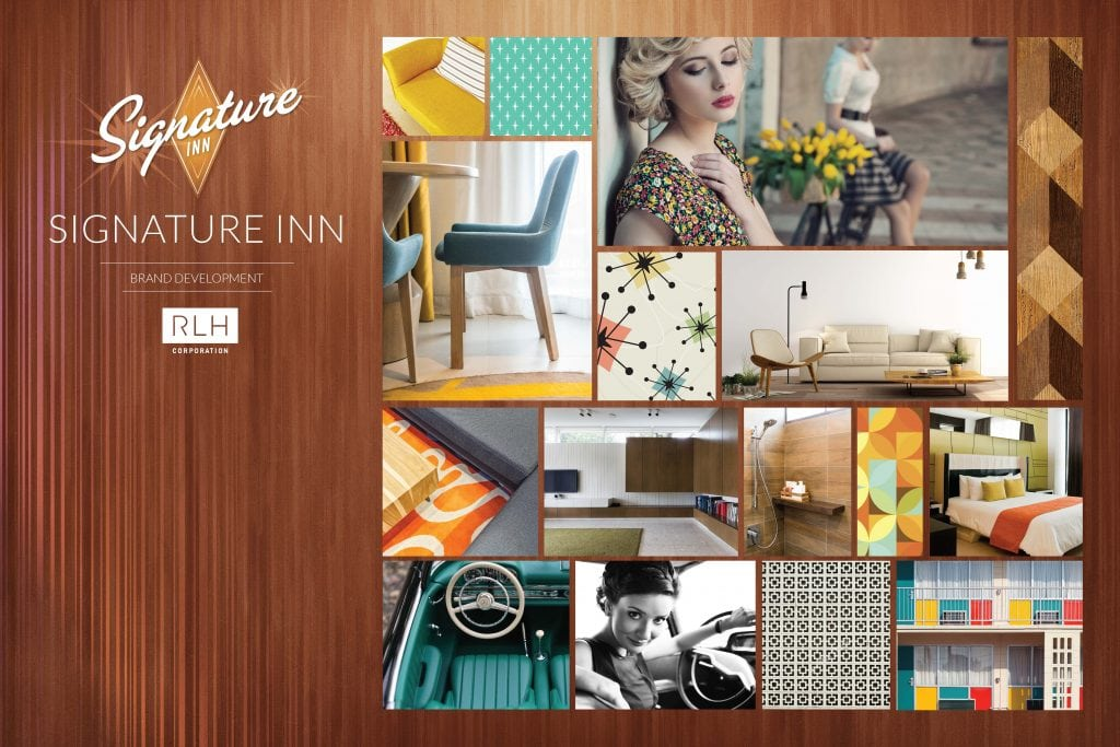 A mood board for RLHC's Signature Inn midscale brand was inspired by midcentury modern design.