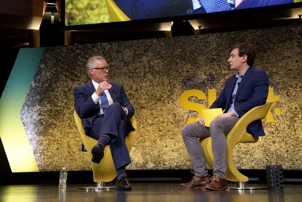 Pictured is Delta CEO Ed Bastian at the Skift Global Forum in New York City in September 2017. After the National Rifle Association controversy, Delta Air Lines may end discounts for all politically divisive groups.