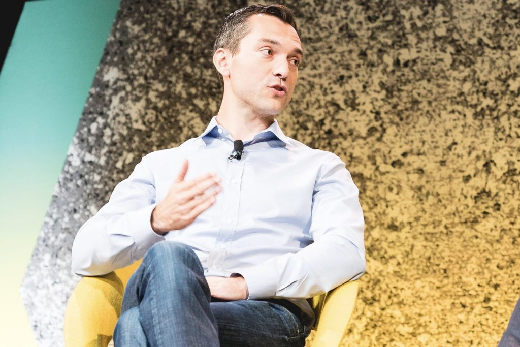 Nathan Blecharczyk, Airbnb co-founder and chief strategy officer, speaking about China at Skift Global Forum in New York, September 26, 2016.