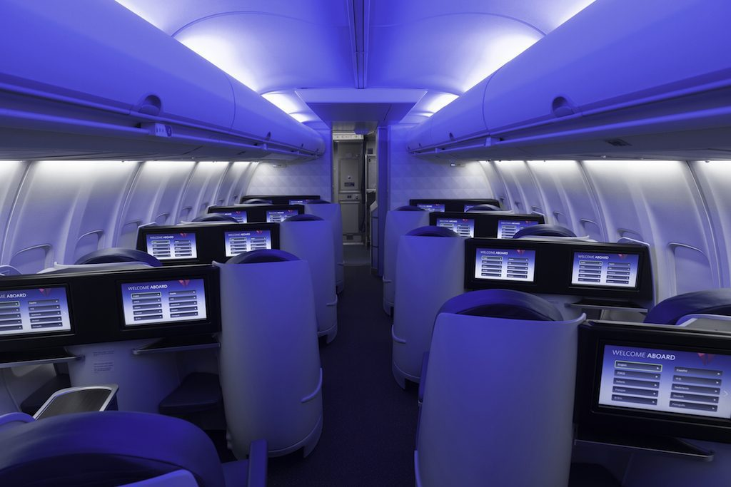 Delta Air Lines is tweaking its strategy and it is adding more flatbeds to domestic routes. A Delta premium cabin is pictured here.