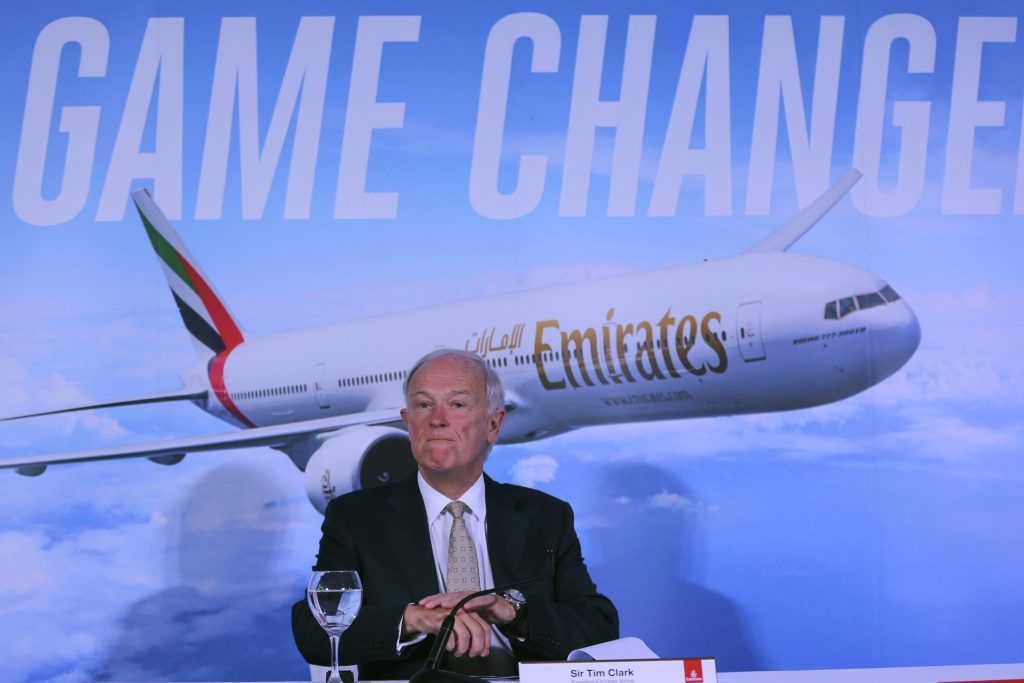 Emirates President Tim Clark speaks to reporters last year in Dubai. Clark said Emirates has made no promises about future U.S. fifth freedom flights.