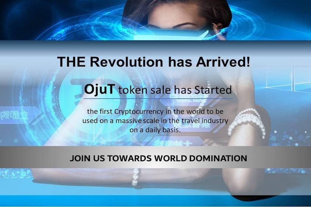 A promotional image for OjutCoin, one of the many cryptocurrencies out there in the travel space.