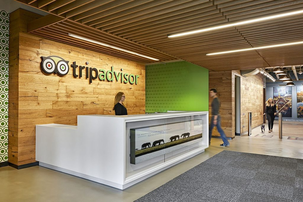 Pictured is the entrance to TripAdvisor headquarters in Needham, Massachusetts. TripAdvisor is having success building its Experiences and Restaurants business.