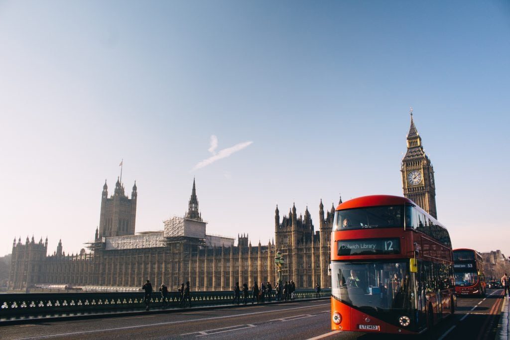 Many tours can be booked online on a double decker bus, such as this one in London. Various online platforms are competing to market share in the tours and activities sector.