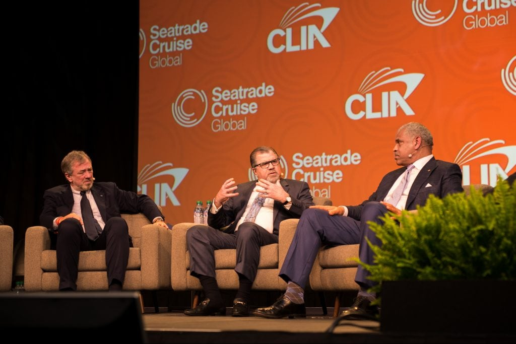 Cruise executives discussed the state of the industry, including overtourism concerns, at the Seatrade Cruise Global conference Tuesday. Pictured from left are Pierfrancesco Vago of MSC Cruises, Frank Del Rio of Norwegian Cruise Line Holdings, and Arnold Donald of Carnival Corp.