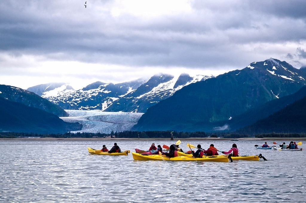 The U.S. Forest Service has a plan to prevent overtourism near the Mendenhall Glacier. Pictured is a group of kayakers around Fritz Cove near the Mendenhall Glacier in Juneau, Alaska.