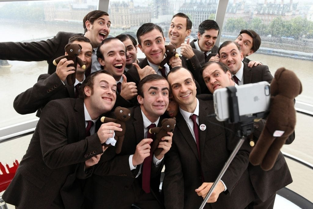 Mr. Bean look-a-likes, pictured here, on the London Eye helping to promote the Play London with Mr. Bean game.