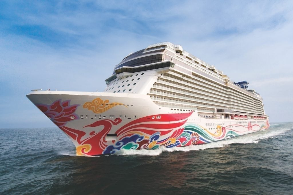 Norwegian Joy is shown in this promotional photo. The ship, which was built with a Chinese audience in mind, is being redeployed to North America.