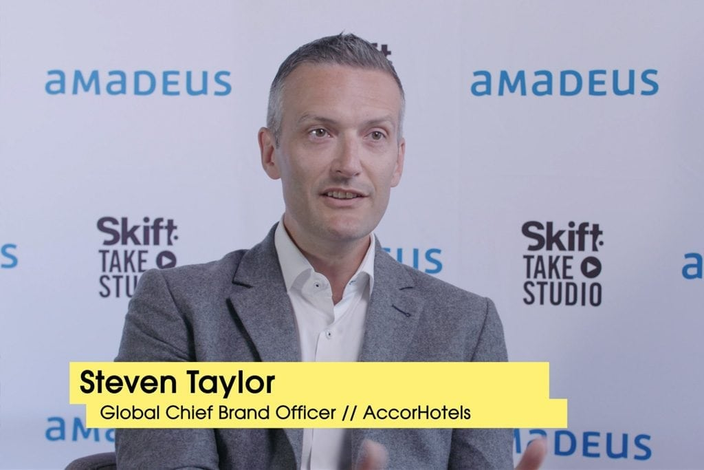 Steven Taylor, global chief brand officer for AccorHotels, spoke in the Skift Take Studio at Skift Tech Forum in June.