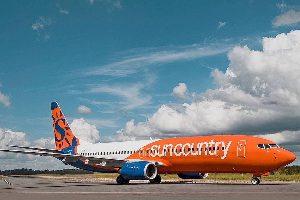 Minnesota-based airline Sun Country may file for an initial public offering. Pictured is one of the airline's Boeing 737s.