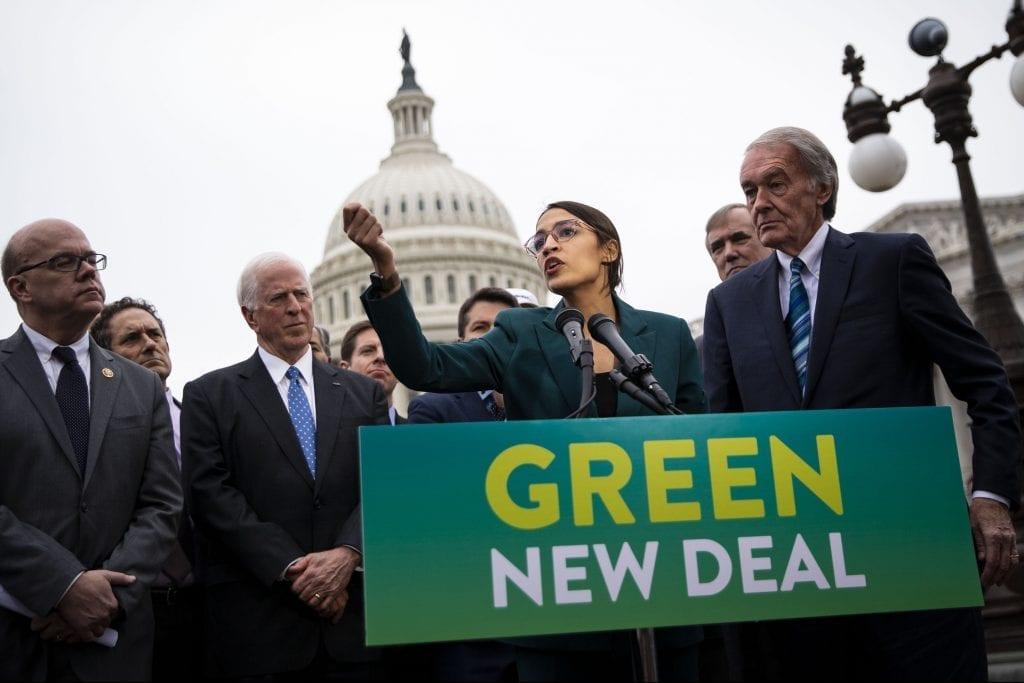 Green New Deal co-sponsors U.S. Representative Alexandria Ocasio-Cortez and Senator Ed Markey discussing the Green New Deal.