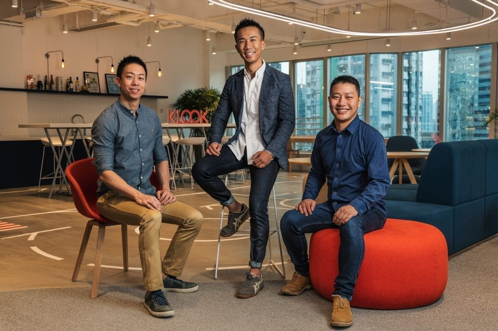 Klook's co-founders, from left, COO Eric Gnock Fah, CEO Ethan Lin and chief technology officer Bernie Xiong.
