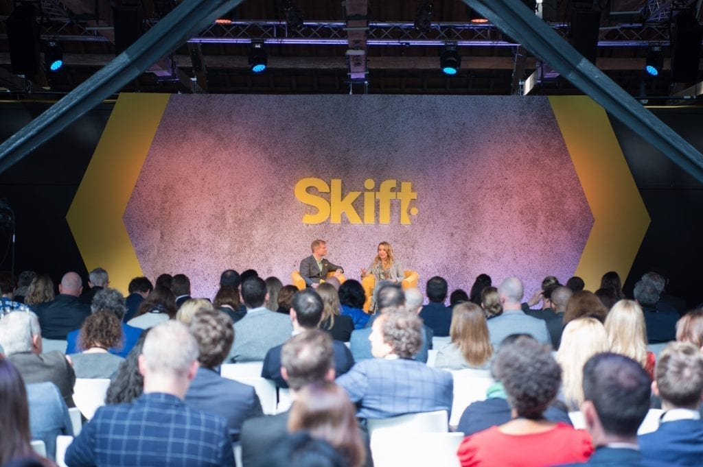 TripAdvisor president of core experience, Lindsay Nelson, and Skift Travel Tech Editor Sean O'Neill speak at Skift Forum Europe in London on April 30, 2019.