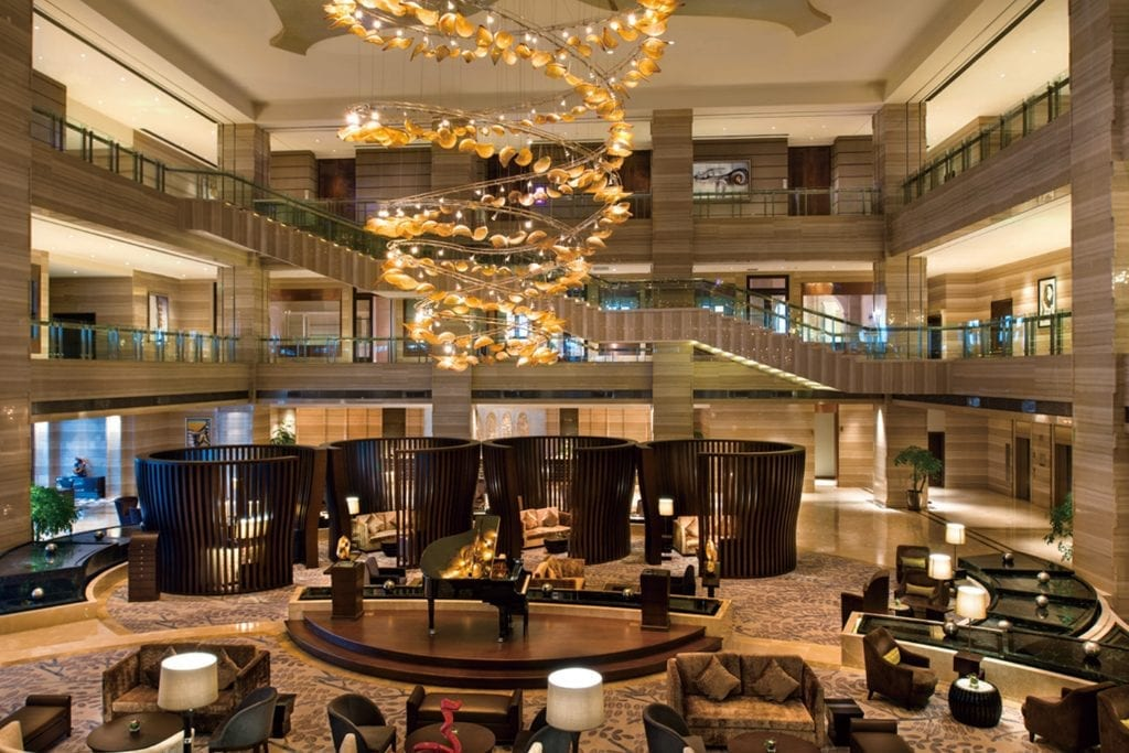 Shown here is the lobby of the Crowne Plaza Hefei Shi in Anhui Sheng, China. Parent company InterContinental Hotels has been changing its tech platform to offer more creative booking options.