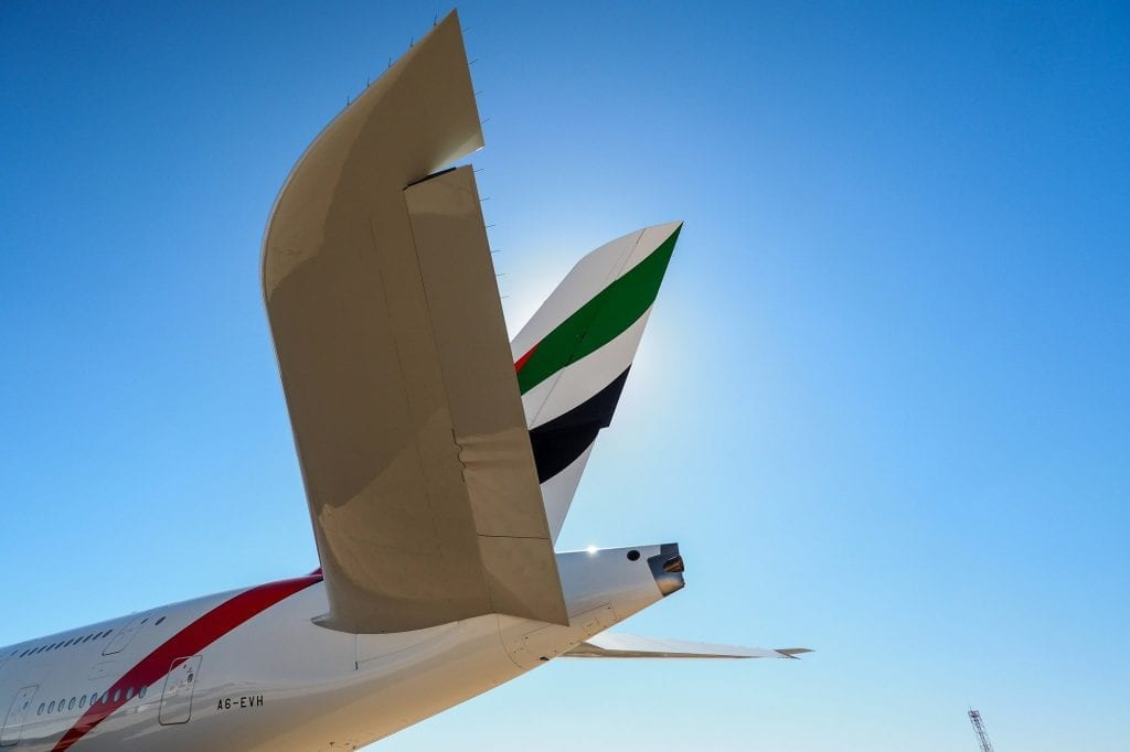 The tail of an Emirates aircraft. The airline group recorded a fall in annual profit.