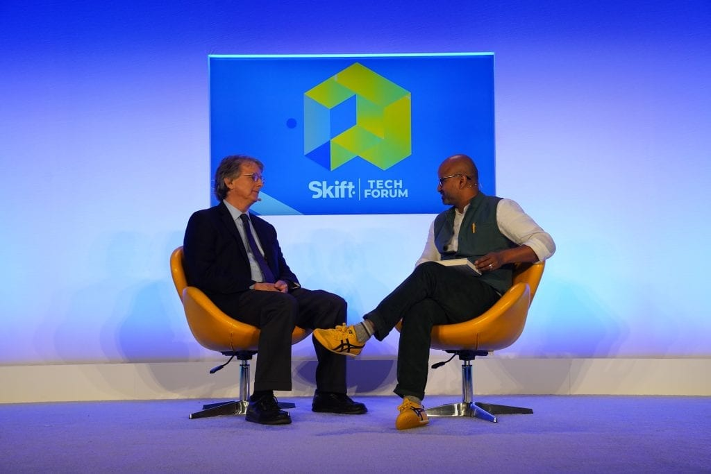 Roger McNamee (left) of Elevation Partners spoke at Skift Tech Forum June 27, 2019 about the authoritarian nature of how Facebook and Google are using Big Data. At right is Skift founder and CEO Rafat Ali.