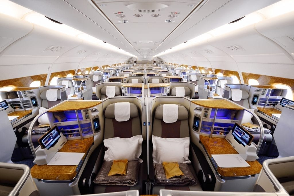 Emirates Airbus A380 business class. Emirates is the first major airline to offer basic business fares.