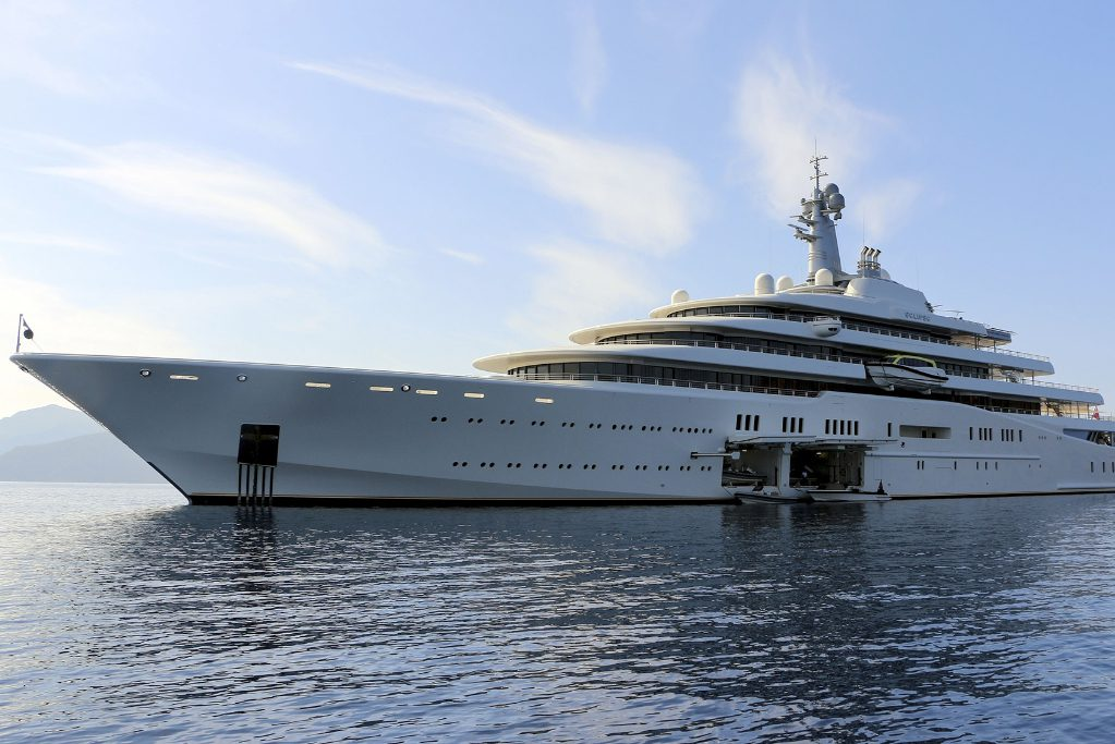 Eclipse, the private luxury yacht of Russian billionaire Roman Abramovich, anchors at Hisaronu Bay in Marmaris district of Mugla, southwestern Turkey on October 19, 2015. The 163-meter-long Eclipse has two helicopter pads, 24 guest cabins, two swimming pools, a disco hall, a movie theater, and two mini-submarines.