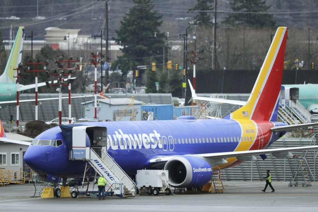 A Southwest Boeing 737 Max. Boeing advised 16 airlines to ground a portion of their 737 Max fleets to check a problem with the electrical power system.