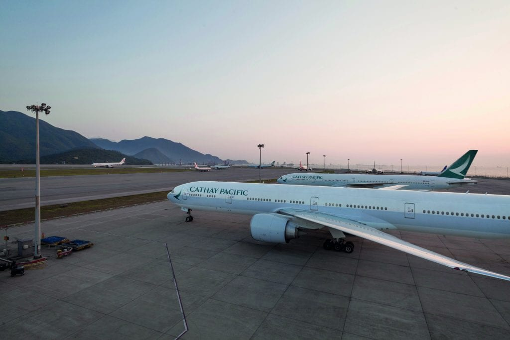 Cathay Pacific aircraft. The airline is closing its Vancouver base.