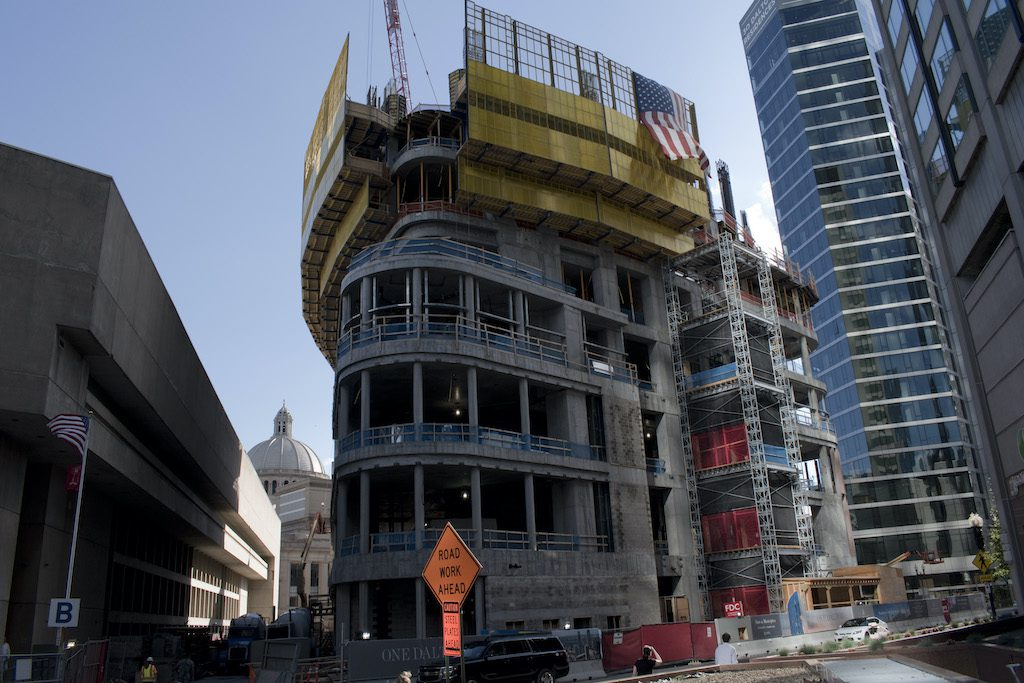 The U.S. leads the world in hotel construction for 2020, but experts expect years of flat growth ahead (Pictured: a Boston Four Seasons Hotel under construction in 2017).