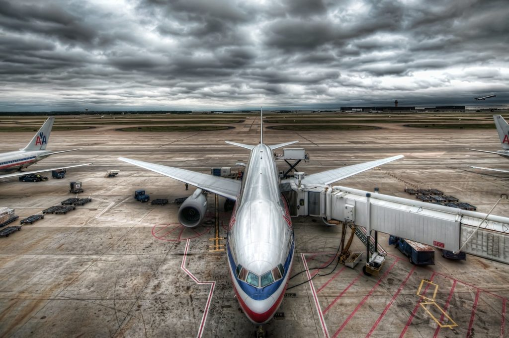 An American Airlines jet at the gate at Dallas-Fort Worth International Airport.