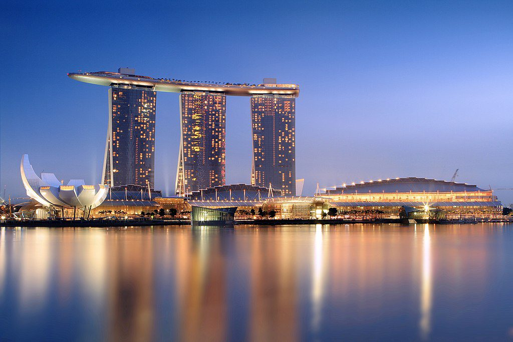 Adelson grew his Las Vegas Sands Corp. into the world's largest casino company through Asian expansion (pictured: Marina Bay Sands Singapore).