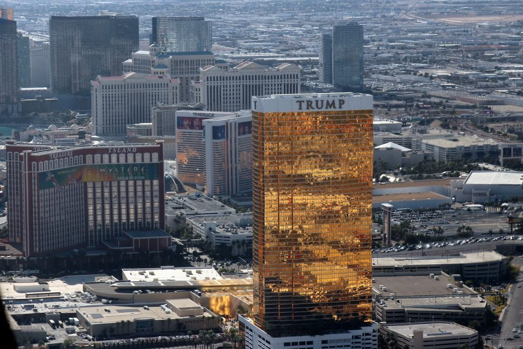 The Trump International Hotel Las Vegas (pictured) is among several Trump-related businesses struggling under the pandemic. Capitol Hill violence earlier this month may exacerbate the financial pain.
