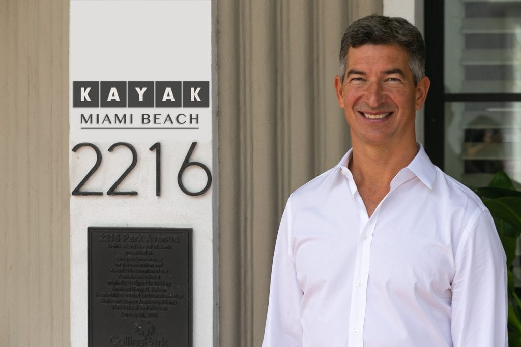 Kayak CEO is pictured at the company's new hotel, the Kayak Miami Beach.