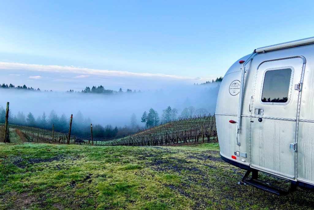 An RV camps at Wilde Prairie Winery, which participates in Harvest Hosts. RVers can learn all about the winery's history, its operations today, its origins during an RV stay.